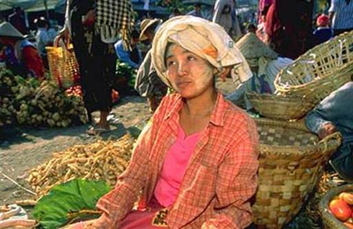 Description: Burmese woman with thanaka on her face