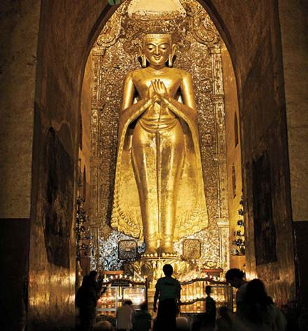 Description: A Buddha statue inside Ananda Temple in Bagan