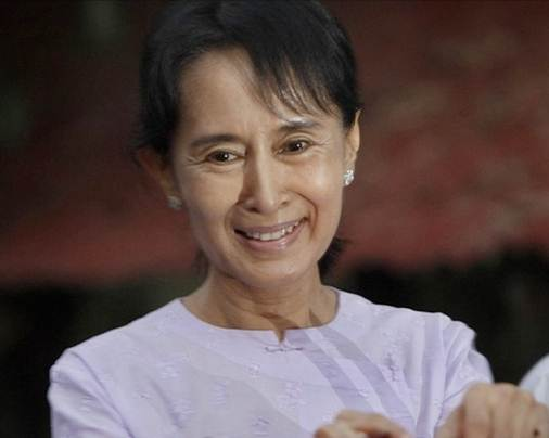 Description: Aung San Suu Kyi, who was enjoying a period of freedom at the time