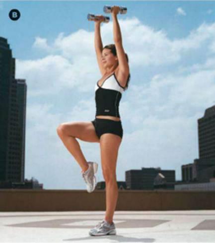 Description: Squat to knee lift, curl and press