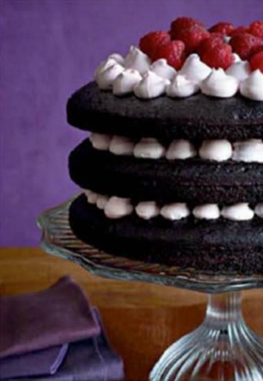 Description: Chocolate-raspberry layer cake
