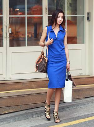 Description: Classical dress with German neck makes you look fashionable in cool cobalt.