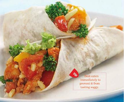 Description: Chicken Fajitas with Baked Bean Spread and Sour Cream