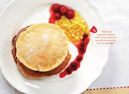 Description: Sweet corn Pancake with Strawberry Sauce