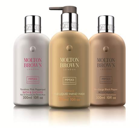 Description: Molton Brown Naran Ji hand wash (gold), Paradisiac Pink Pepperpod bath and shower gel (silver), Re-charge Black Pepper body wash (bronze), $39 each.