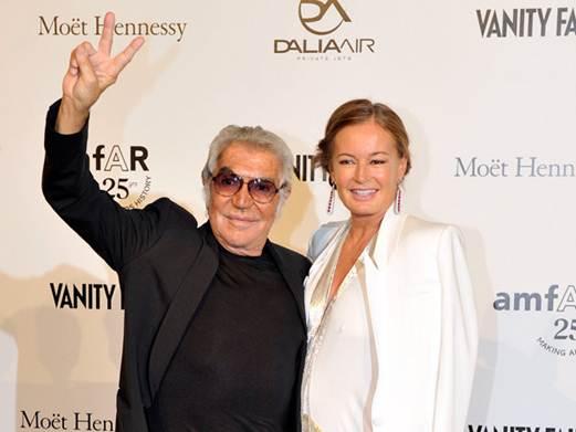 Description: Fashion designer Roberto Cavalli and his wife Eva
