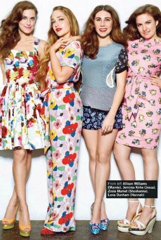 Description: From left: Allison Williams (Marnie), Jemima Kirle (Jessa), Zosia Mamet (Shoshanna), Lena Dunham (Hannah)