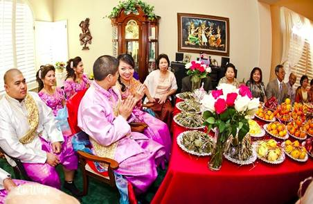Description: a colourful Cambodian wedding