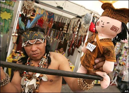 Description: A jungle shaman in the Peruvian capital Lima