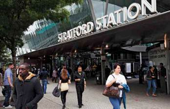 Description: The Stratford underground station in East London