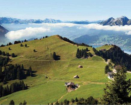 Description: A view over Lucerne valley to the summit of Pilatus