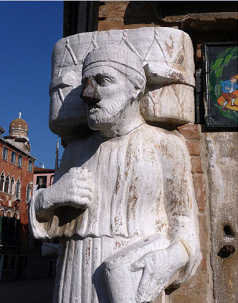 Description: The one with the turban is Sior Rioba who came from Morea (one of Venice's former Greek outposts)