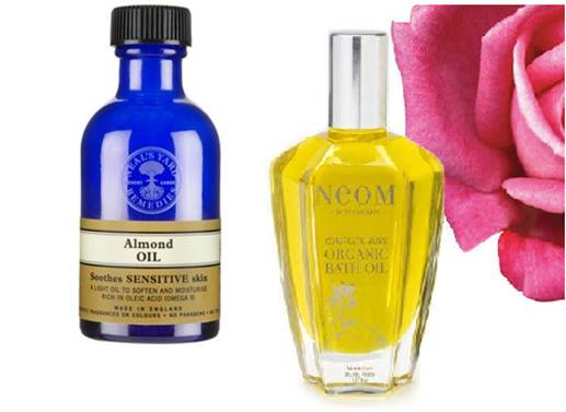Description: Neal's Yard Almond Oil, Neom Tranquallity Organic Bath Oil