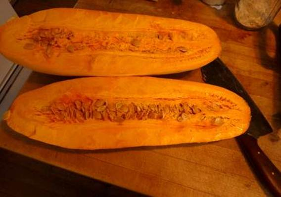 Description: Cut the squash into crescent slices