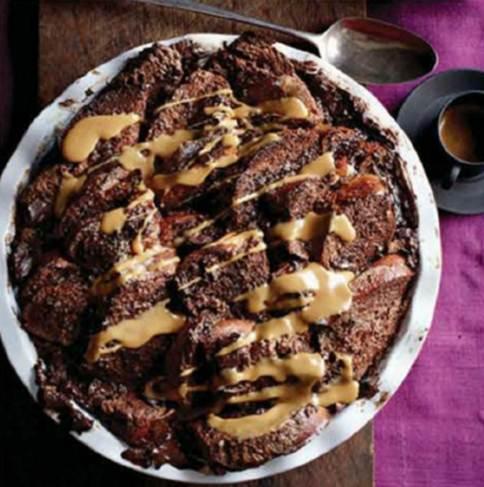 Description: Spiced chocolate bread pudding
