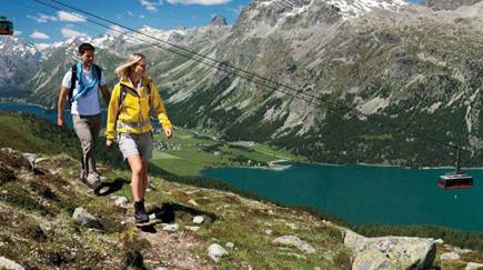 Description: Description: Hikers with view of the Corvatsch cable car and Lake Silvaplana
