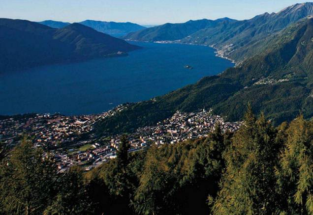 Description: Lake Maggiore, as seen from the Cardada viewing platform