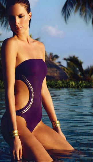 Description: Swimsuit, $ 281, Melissa Odabash. Bangles, $ 85 each, Pebble