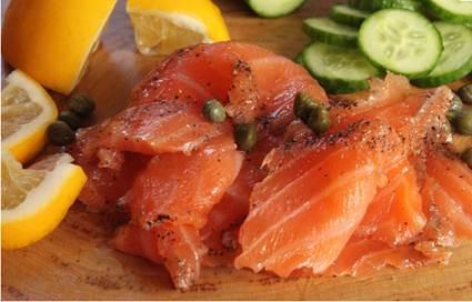 Description: Salt and pink peppercorn cured salmon