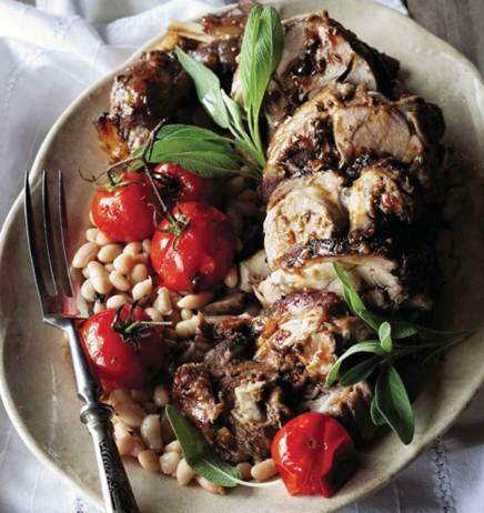 Description: Shoulder of lamb with white beams & vine tomatoes