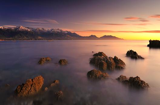 Description: the Seaward Kaikoura Ranges on New Zealand's South Island