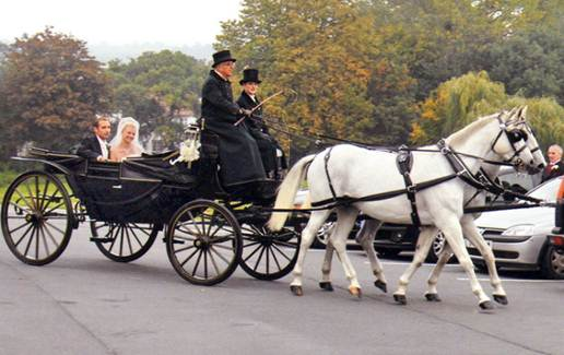 Description: excited bride Sophie Clarke and her father were on their way to her wedding ceremony in a lavish horse-drawn carriage