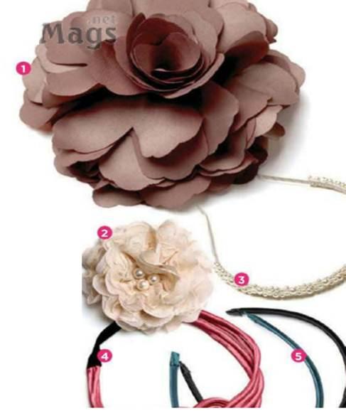 Description: Delicate flower clips and slim Alice bands.