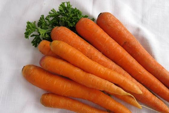 Carrot contains vitamin A that is necessary for the growing and maintaining healthy cells.