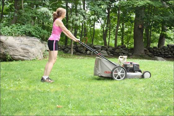 Mowing the lawn in about 15-20 minutes and you will burn 150 calories.