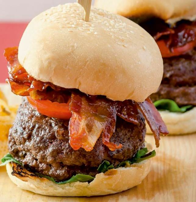 Grilled chorizo- and blue cheese-stuffed burgers with candied bacon