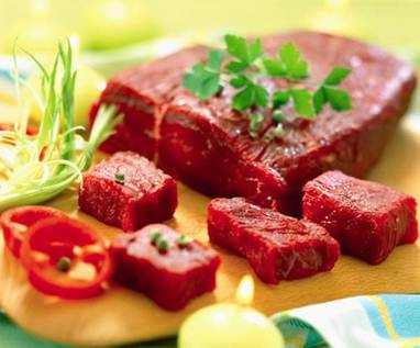 Description: Beef contains large amounts of iron, protein, B6, B12, zinc, and colin.