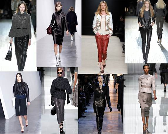 Description: Leather on leather was a huge trend on the autumn catwalk.