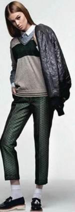 Description: Leather jacket, Polyester-mix jumper, Cotton shirt, Leather shoes, Cotton socks