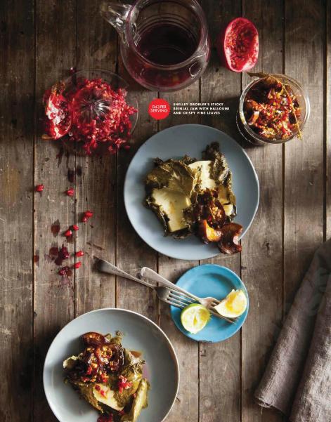 Description: Shelley Grobler's Sticky Brinjal Jam With Halloumi And Crispy Vine Leaves
