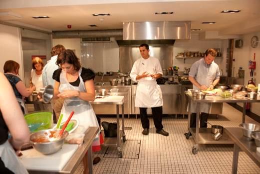 Description: L'Atelier des Chefs is right in the centre of London, in Wigmore Street.