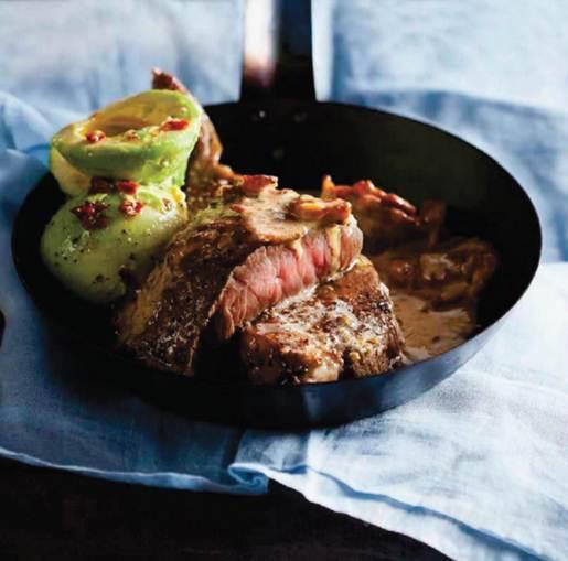 Description: John Easingwood's Sirloin with Gorgonzola and Bacon Sauce and Avocado Salad