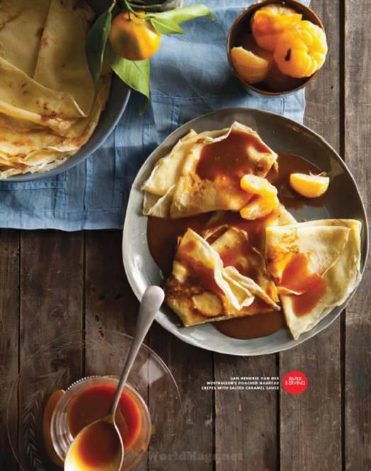 Description: Jane Hendrik Van Der Westhuizen's Poached Naartjie Crepes With Salted Caramel Sauce