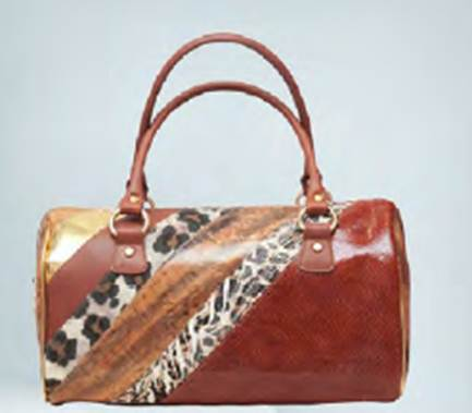 Description: Animal print and leather bag by BF Colección Europa