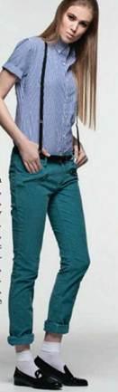 Description: Cotton shirt (worn throughout), and elastic braces, Corduroy trousers, Patent-leather shoes, Cotton socks