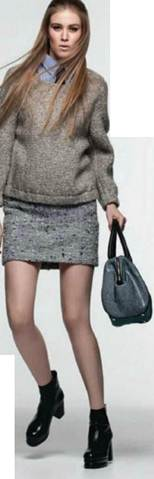 Description: Wool-mix jumper, and leather bag, cotton-mix skirt, Patent-leather boots, Silk tie