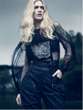 Description: Sheer blouson with sequin detail, Gucci; lace bra, Parah; jodhpurs, Raghavendra Rathore; leather obi belt, stylist's own