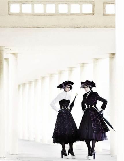 Description: Decadent daywear like McQ's velvet and broderie-anglaise bustier dress