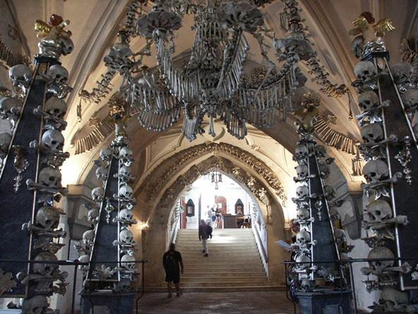 Description:  St Barbara's Church and the slightly macabre Sedlec Ossuary, which is located beneath the Cemetery Church of All Saints and is said to contain 70 000 human skeletons.