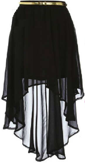 Description: Dorothy perkins sheer black dip hem skirt
