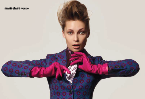 Description: Miu MiuJacquard wool jacket and trousers, gazare button-up shirt, jacquard necktie, all Miu Miu; gloves, Causse