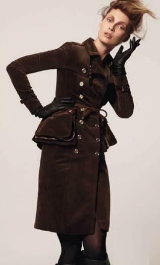Description: Burberry ProrsumCorduroy coat dress, belt, all Burberry Prorsum; gloves, Causse; vintage knee-high boots