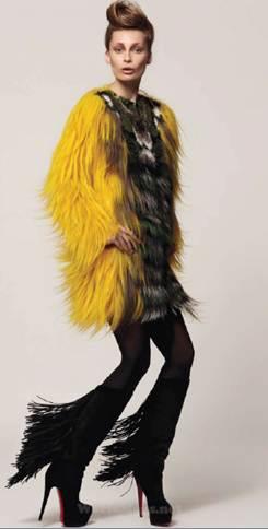 Description: FendiOrchid print fur coat, Fendi; stiletto boots, Christian Louboutin
