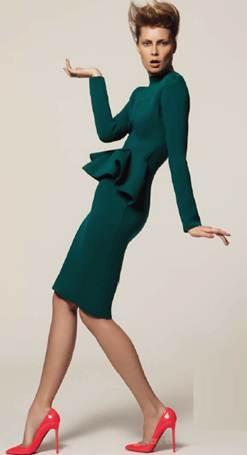 Description: LanvinNeoprene sculptural dress, Lanvin; stiletto pumps, Christian Louboutin