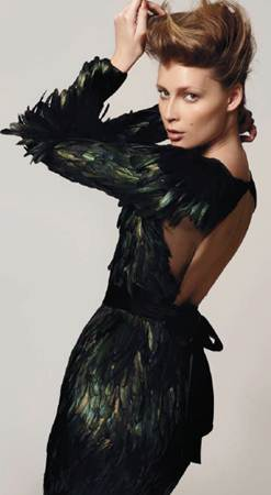 Description: GucciGreen feathers on satin backless dress, Gucci