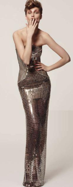 Description: VersaceFloor-length metallic dress, Versace